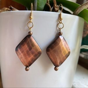 Hammered Copper Platted Earrings